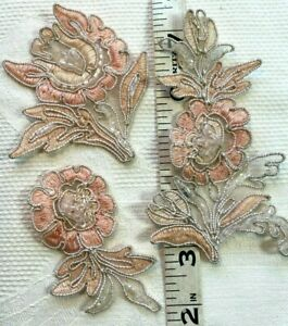 Vintage-Applique-Embroidered-Soutache-Beading-Hand-Sewn-3pc-Set-Peachy-Pink