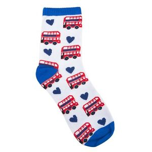 British-Multi-London-Red-Bus-Red-White-Blue-Novelty-Adult-Cotton-Cosy-Socks