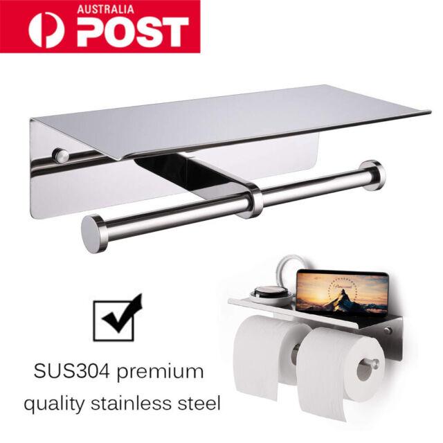 Double Toilet Paper Roll Holder Tissue Rack Rail Storage Shelf Stainless Steel