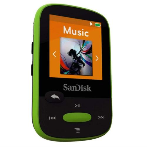 SanDisk Clip Sport 8GB Lime MP3 Player With LCD Screen and MicroSDHC Card Slot