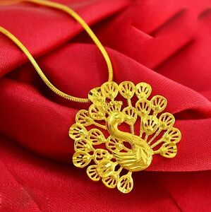 Hollow-Peacock-Pendant-Necklace-Chain-Women-24K-Yellow-Gold-Filled-Wedding-Gift