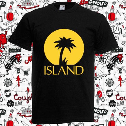 New ISLAND RECORDS Palm Logo Men/'s Black T-Shirt Size S to 3XL