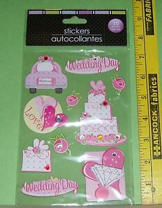 3D WEDDING STICKERS FOR SCRAPBOOKING CRAFTS NEW 10 STICKERS PINK