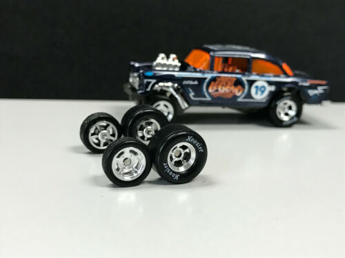 R244 Hot Wheels 1//64 Set/> Hoosier Drag Real riders /'55 Gasser RUBBER TIRES