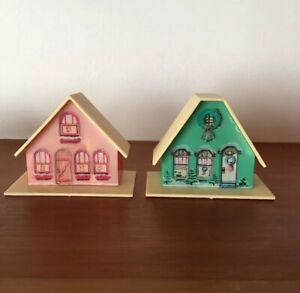 Details about Vintage Pair Plastic House Christmas Light Cover Putz