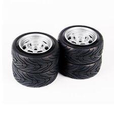 4 pcs Flat Rubber Tires&Wheel Rim For HSP HPI 1/10 RC On Road Racing Car 11083