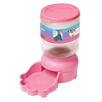 Distributore Di Cibo 2 Kg In Plastica Per Cani e Gatti Ciotola Animali Rosa