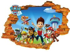 3D Paw Patrol Pups Breaking through Wall Decals Removable Sticker
