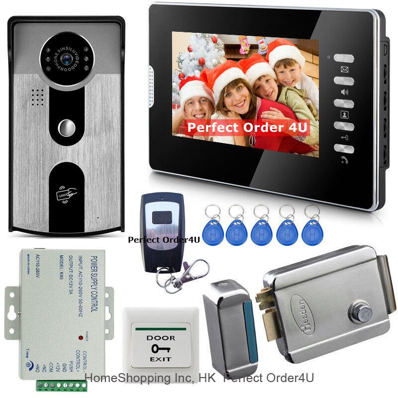 Top 7  pulgadas Video Puerta Teléfono Intercomunicador intercomunicador de video + Cámara de acceso RFID + Cerradura Eléctrica