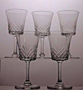 CUT-GLASS-LEAD-CRYSTAL-SHERRY-5-GLASSES-SET