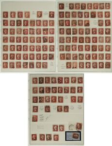 Sc#33/SG#43 Penny Red letters 1858-79 Collection: 143 different plate numbers