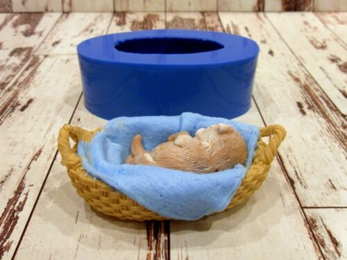 """/""""Puppy in a basket/"""" silicone mold for soap and candles making mould mold"""
