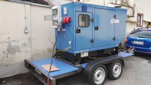 SDMO 88KVA 70KW Diesel Stromaggregat Stromerzeuger mieten Vermietung Anhänger