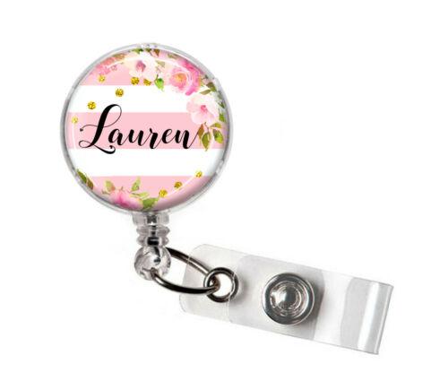 PERSONALISED Pink Flower Stripe Retractable ID Card Name Badge Reel Lanyard Pass