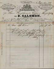 AACHEN, Rechnung 1866, Blumen u. Herren-Chemisetten D. Salomon