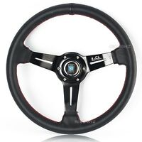 Nardi 14 Black Leather Spoke Red Stitching Dished Sport Steering Wheel W Horn