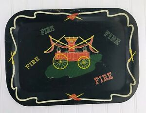 Vintage-Antique-Fire-Trucks-Wagon-Metal-TV-Tray-Decor-Coffee-Table