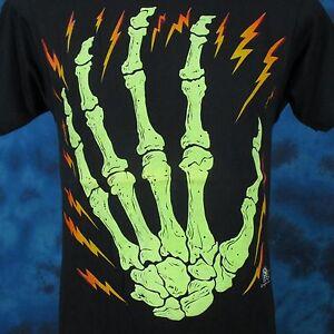 vintage-80s-SKELETON-HAND-CARTOON-T-Shirt-SMALL-bone-skeleton-horror-punk-thin