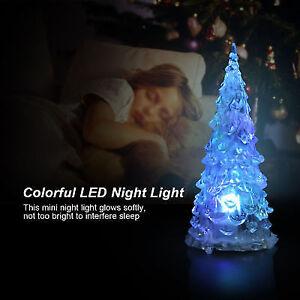 Fine Led Crystal Color Changing Mini Christmas Tree Night Light Lamp Home Decor