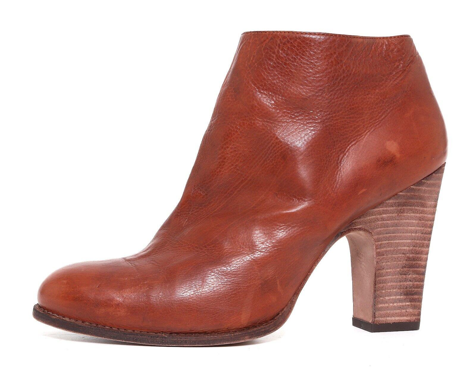 Stuart Weitzman Demigran Leather Ankle Boots Brown Women Sz 10 M 6570