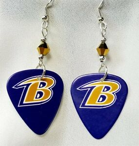 Image Is Loading Nfl Baltimore Ravens B Guitar Pick Earrings With