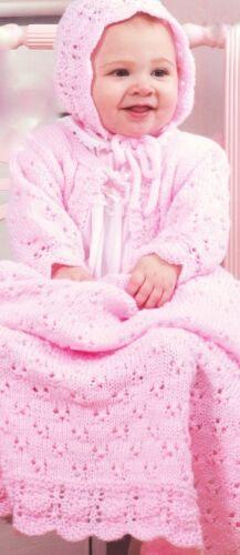 Baby Knitting Pattern Eyelet /& Lace Set Blanket Bonnet /& Cardigan 3-6 months DK