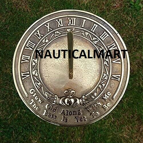 NauticalMart Grow Old Along with Me Sundial For Garden & Made From Solid Brass