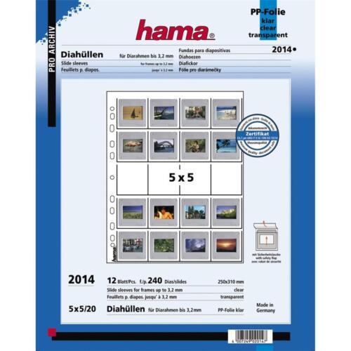 Hama 2014 35mm Montierte Dia Aufbewahrungs Seiten 5.1cmx5.1cm Pack 12 Blatt