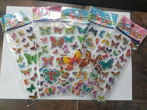 5x Hojas niños Puffy Reutilizable libro de chatarra pegatinas Hermosa Mariposas Insectos