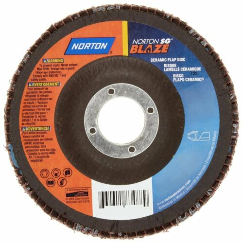 "9 NORTON SG Blaze R980 4-1//2/"" x 7//8/"" Ceramic Flap Discs 60-Grit T27 Fiber 83488"