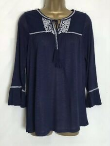 High-Street-Navy-Jersey-Embroidered-Boho-Top-Sizes-10-20-hs-8s