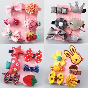 Eg-LX-Fj-5-6pz-Cuore-Stella-Bowknot-Animale-Bambine-Fermacapelli-Set