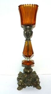 """Amber & Brass Tone Candle Holder Candlestick Hollywood Regency Mid-Century 12"""""""