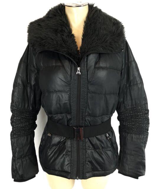 Zara Basics Puffer Coat Sz M Womens Black Belted Jacket Faux Fur Collar Winter