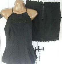 KAREN MILLEN 12 BLACK BRODERIE ANGLAIS APPLIQUÉ  CUT WORK SKIRT & TOP DRESS 40