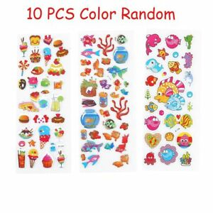 10 PCS Colorful 3D Stickers Cartoon Fish Kindergarten Reward Adhesive Paper