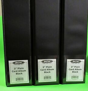 "3 BCW 3"" ALBUMS - PLAIN BLACK  / 3 RING BINDER - HOLDS 90+ BCW PAGES EACH"