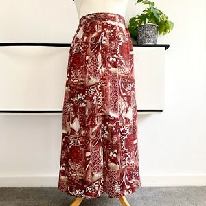 Jacques-vert-Skirt-Size-18-deep-red-Smart-CASUAL-Vintage-pleated