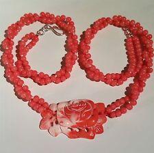 "Precioso Collar De Coral Con Colgante ROSA TALLADA, 21"" -23"" de largo."