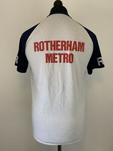 Woodchester Vintage Rotherham Metro RM Sports Jersey Tee T Shirt Blue & White M