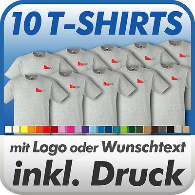 10 T-shirts Fruit Of The Loom In Wunschfarbe, Mit Wunschtext Logo Bedruckt Druck