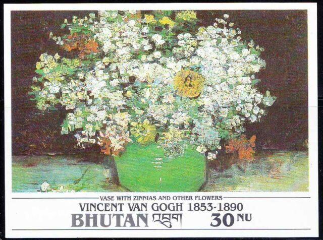 Bhutan Mnh Ss Van Gogh Vase With Zinnias Flowers Paintings Z9 Ebay
