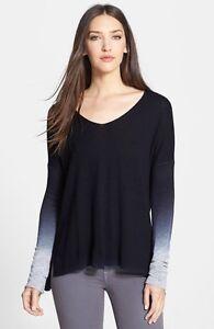 New l vince ombre sleeve cashmere sweater v neck coastal combo j 96