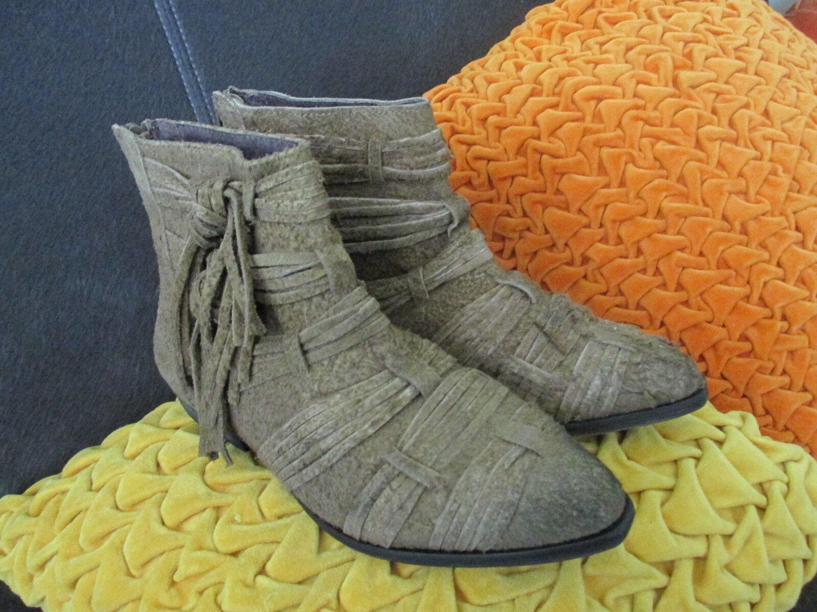 Free People tan distress suede Decades Ankle Stiefel Stiefelie EU 37 US 7 NWOB