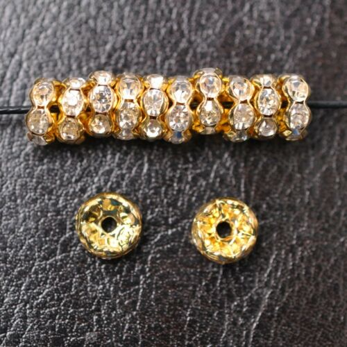 100pcs GOLD /& SILVER /& Czech Crystal Rhinestone Rondelle Spacer 4//6//8//10MM
