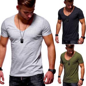 061bb0e4ef590f T-Shirt Herren V-Neck Tiefer Ausschnitt Clubwear Schwarz Khaki Grau ...