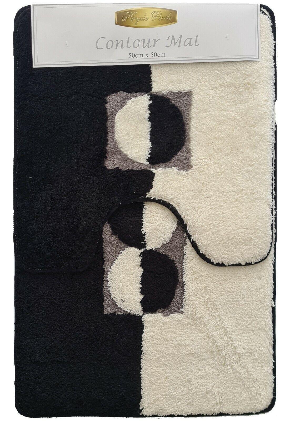 Hyde Park Eclipse Black/White 1 x Bath Mat 50x80cm + Contour 1 x Mat 50x50cm Set