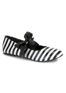 Brand New Prisoner Black Ribbon Bow Jail Bird Adult Ballet Flat Shoes