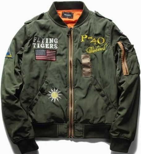 Flying Tiger Cool Baseball Flight Jacket Plus Size Fashion Mens Spring Autumn Pi