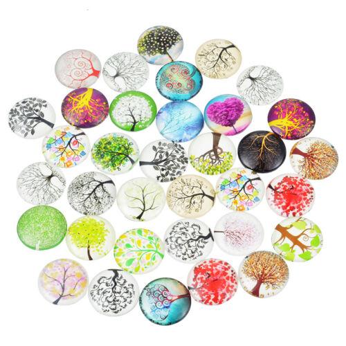 10PCs Mixed Butterfly Round Light Luminous Glass Cabochons Jewelry 20mm Hot Sale